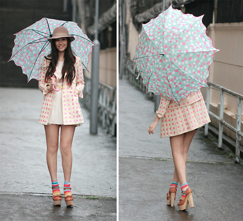 Little chanel-esque bag - Polka dots blazer, Weeken, Colorful socks, Weeken, Chunky mary jane, Weeken, Umbrella, Weeken, Mayo Wo, Hong Kong