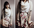 Florals&Nudes - Circle scarf, Zara, Oversized basic shirt, Forever21, Oversized clutch, ASOS, Floral skirt, Forever21, Bat wing cardigan, Weeken, Kar-Yan C, Canada