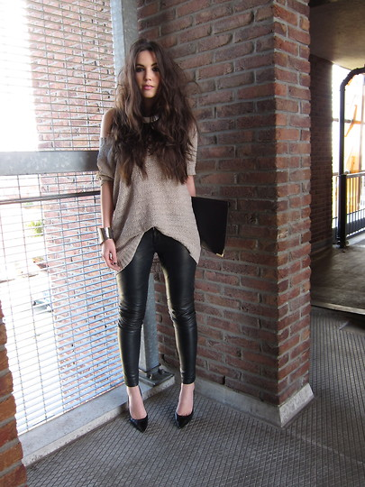 Knitted&leather - leather trousers, Weeken, jumper, H&M, pointed toe heels, Zara, Candy, Netherlands