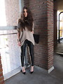 Knitted≤ather, leather trousers, Weeken, jumper, H&M, pointed toe heels, Zara, Candy, Netherlands