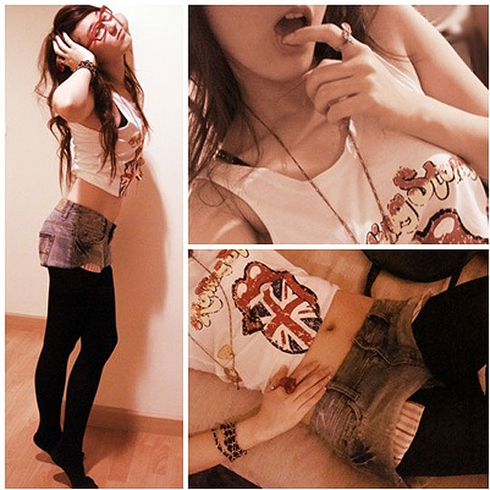 Crazy Night!!!!  - Shorts, American Eagle, Black & Gold Necklace, Weeken, Red Heart, Weeken, White Shirt, Weeken, Little B, Thailand