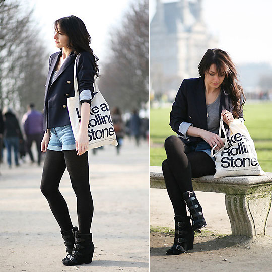 Mick, Keith and I  - Blazer Zara,, Zara, Short H&M, H&M, Sac toile Original Music Shirt, Weeken, Estelleblogmode, France