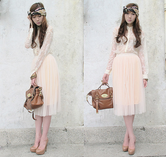 Good Vibrations!! - Nude pumps, Topshop, Bangles, H&M, Scarf worn as headpiece, Weeken, Sheer lace polo, H&M, Tulle midi skirt, Weeken, Bag, Mulberry, Gold elephant ring, Weeken, Camille Co, Philippines