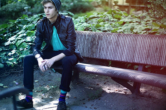 I wonder as i wonder  - Beanie leather jacket, H&M, Knit socks, H&M, Shoes, Weeken, Adam Gallagher, Canada