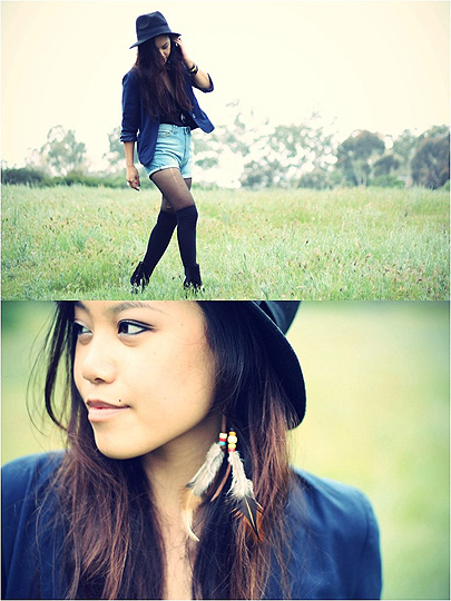 The flowers and the fields  - Denim shorts, Zara, Feathered earrings, Weeken, Blazer, Forever21, Arizka Sehoko, United States