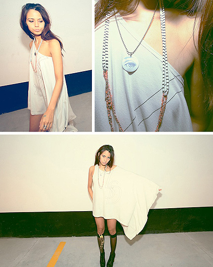 LSD  - Tank dress, Weeken, Necklace, Weeken, Sheer knee socks, American Apparel, Lita platform, Weeken, Crystal Yeoms, Canada