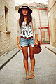 Too hat , Shorts, Zara, Cardigan, Zara, Hat, ASOS, T-shirt,, Bershka, Sandals, Weeken, Purse, Weeken, Alexandra Per, Spain