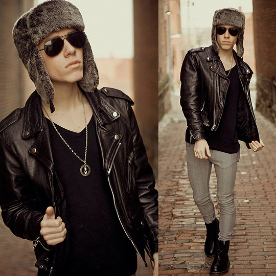 We could've had it all.  - Fur trapper hat, Forever21, Leather biker jacket, Weeken, Black long sleeve v-neck, H&M, Gray super slim jeans, ASOS, Dr. Marten boots, Weeken, Aviators, Weeken, Blake Jacobsen, United States