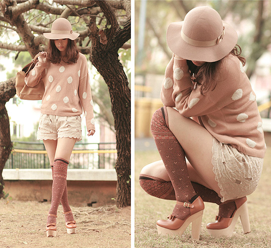 Tangerine latte  - Nude hat, Weeken, Polka dots sweater, H&M, Cream shorts, H&M, Chunky mary jane, Weeken, Mayo Wo, Hong Kong