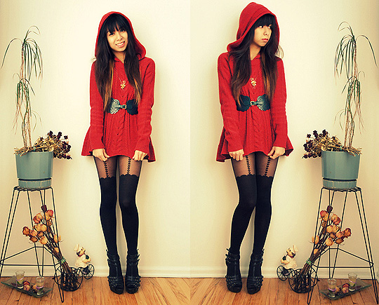 Miss little red riding hood  - Red Swing Hooded Sweater, Weeken, Golden Flower Necklace, Weeken, Kimchi Blue Scallop Belt, Weeken, Heart Suspender Tights, ASOS, Studded Heels, Forever21, Melanie P, United States