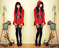 Miss little red riding hood , Red Swing Hooded Sweater, Weeken, Golden Flower Necklace, Weeken, Kimchi Blue Scallop Belt, Weeken, Heart Suspender Tights, ASOS, Studded Heels, Forever21, Melanie P, United States