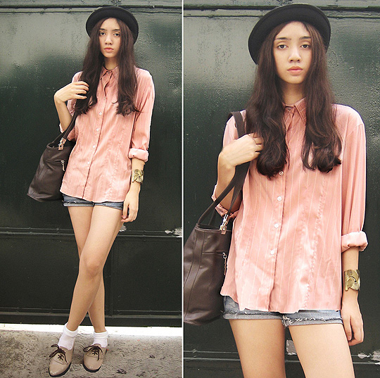 The Geek in the Pink  - Pink polo, Weeken, Cut-off shorts, H&M, Bowler hat, HaiLanHome, Custom-made brogues, Weeken, Aileen Belmonte, Malaysia
