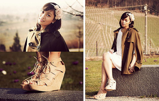 Spring, i smell thou.  - Wedge sandals, ASOS, Hairband, H&M, Cape, ASOS, Anjelica Lorenz, Germany