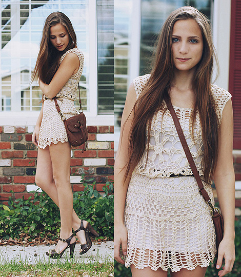 Sing The Song You Sing  - Clog sandals, PAYLESS, Hand crochet dress, Weeken, Satchel bag, Weeken, Bethany Struble, United States