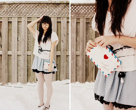 LOVE LETTERS  - Dog cropped shirt, H&M,  poke-a-dot lace skirt, Weeken, Kimichi Shoes, Weeken, Kar-Yan C, Canada