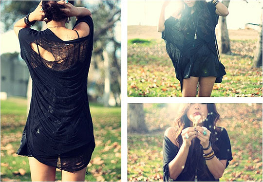 We were always meant to say goodbye  - Black shredded tee , Weeken,  dress , Forever21, Arizka Sehoko, United States