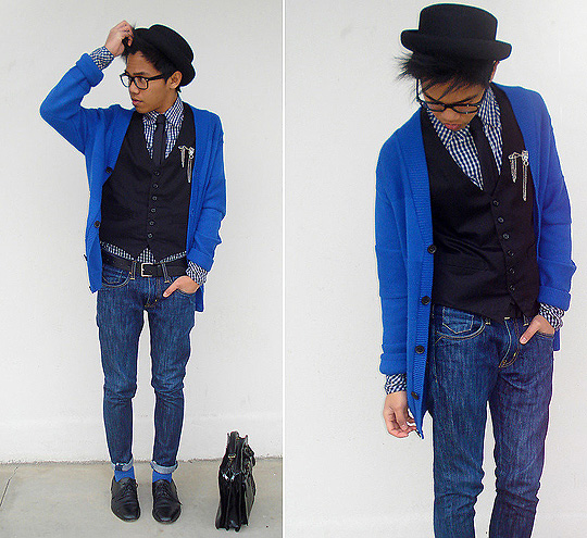 I h♥pe she wears red for our date!  - Checked Blue Shirt, Weeken,  Vest, Weeken, Blue Cardigan, H&M, Blue Cardigan, H&M, Black shoes, Weeken, Bowler Hat, Weeken, Pin with FF7 Chains, Weeken, Skinny denim jeans, Weeken, Black thin tie, Weeken, Blue socks, H&M, Leather Briefcase , Weeken, Jerome Centeno, Estonia