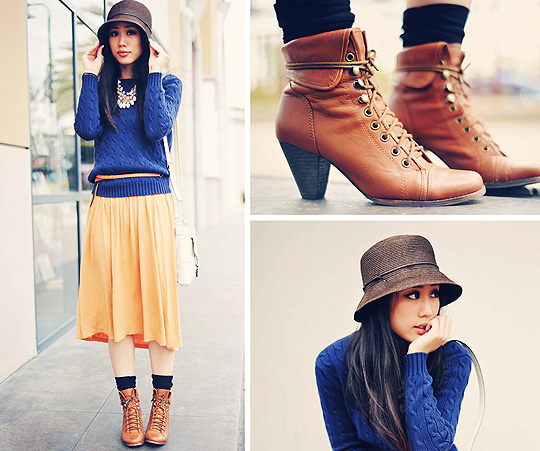 Rainy day blues  - Dresses, Weeken, Hat, Weeken, Sweaters, Weeken, Shoes, Weeken, Jenny Ong, United States