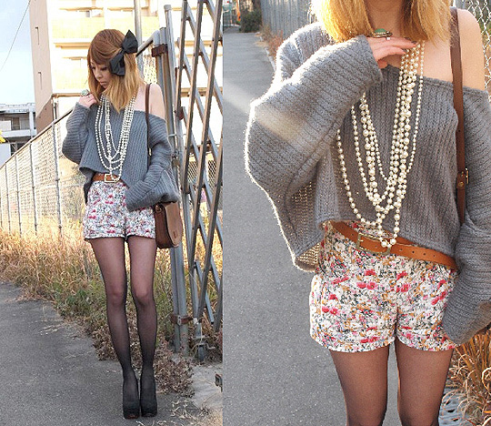 Lazy days  -  sweater, Weeken, Floral shorts, Weeken, Asami Takata, Japan