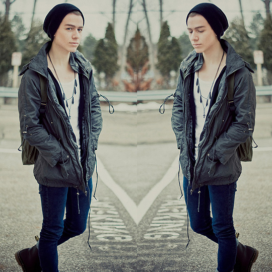 Out of the blue uninvited.  - Rosary necklace, ASOS, Black slouch beanie, Weeken, Parka, Forever21, White tank top, H&M, Black cardigan, H&M, Dark denim skinny jeans, Weeken, Dr. marten boots, Weeken, Military bag, American Eagle, Blake Jacobsen, United States