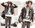 Teenage Crime , Fifty Five T-shirt, Weeken, Denim hood, Weeken, Biker jacket, H&M, Studded belt, H&M, Acid wash jeans, Weeken, Black leather rucksack, Weeken, Leather circle stud bracelet, Weeken, Piano bracelet, Weeken, Grey beanie, Weeken, Bobby Raffin, Canada
