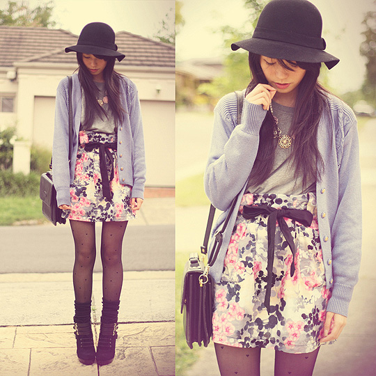 A PASTEL SPRING  - Tights, Weeken, School socks, H&M, Hat, Forever21, Jumper, Forever21, Boots, Nine West, Necklace , DIVA, Cardigan, Weeken, Kirt, Weeken, Bag, Weeken, Kani, Australia