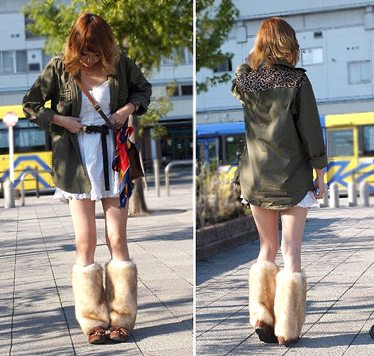 A LITTLE MONSTER  - Fur legwarmer, Weeken, Military shirt, Weeken, Asami Takata, Japan