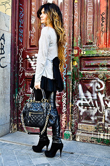 LAZOS  -  Dress, Weeken, Stam bag, Marc Jacobs, Leather Pants, Weeken, Shoes, Weeken, Angela Rozas Saiz, Spain