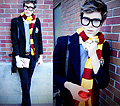 The Sorcerers Stone  - Wide framed glasses, Weeken, Gryffindor scarf, Weeken, Crest blazer, Ralph Lauren, Deer/ owl rings, H&M, Adam Gallagher, Canada