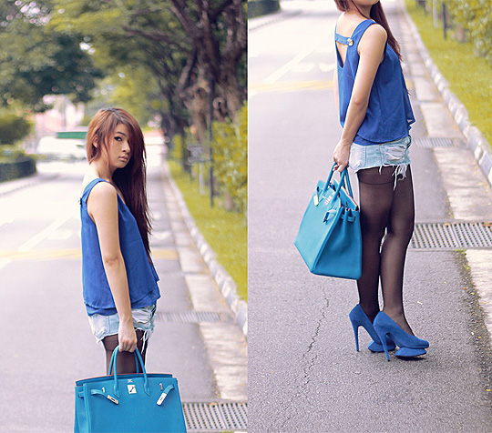 Running across the road  - Cropped top, Weeken, Shoes, Weeken, Birkin bag, Hermes, Anastasia Siantar, Indonesia