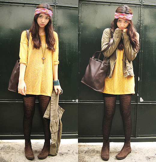 No Spring Where I Come From, So Let's Wear it Instead  - Patterned tights, Forever21, Vintage scarf, Weeken, Oversized sweater, Forever21, Ankle boots, Weeken, Army jacket, Old Navy, Aileen Belmonte, Malaysia