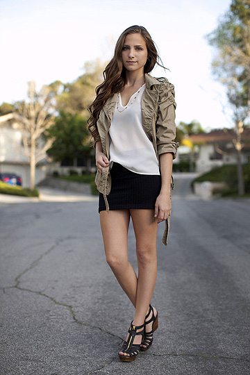 Origami Crane -Trevor Hall  - Tan jacket,, Weeken, Black high waisted skirt,, Forever21,  white silk blouse, Weeken, Zipper wedges, Steve Madden, Bethany Struble, United States