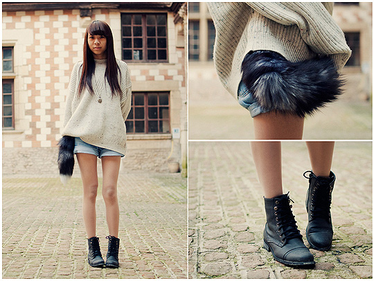 - it isn't love. this, isn't love.  - Huge sweater, Weeken, Military boots, Weeken, Johanne Doan, France