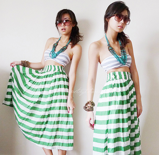 Stripe  - Striped Bandeau, Forever21, Striped Skirt, Weeken, Kryz Uy, Philippines