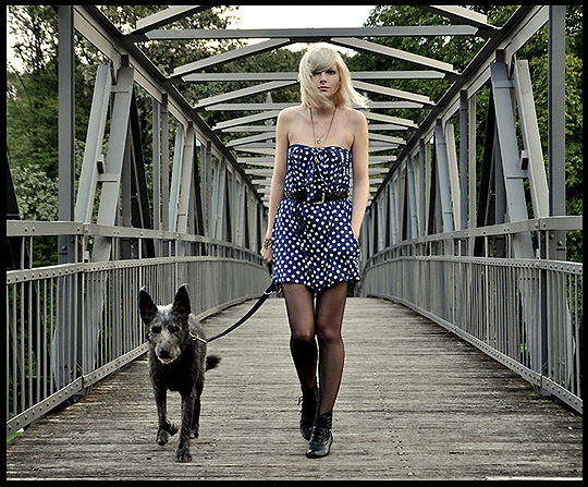 Walking with the donkeydog  -  dress, Weeken,  shoes, Weeken, Jana Spaceman, Germany