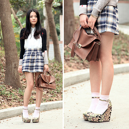 Preppy with new wedges :D  - Dress, Weeken, Bag, H&M, Shoes, Weeken, Yuki Lo