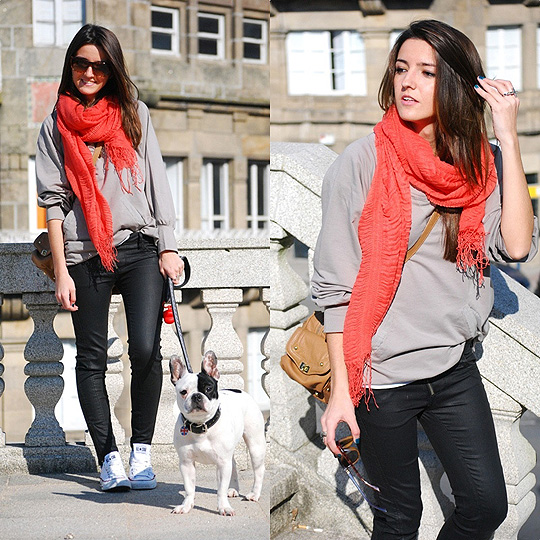Fluor for a sunny day  -  foulard, H&M, Leather pants, Weeken, Sweater, Weeken, Bag, Zara, Alexandra Per, Spain