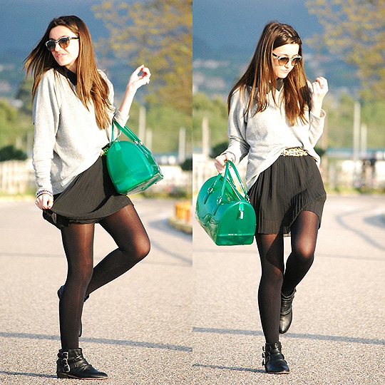 A touch of candy bag  - Candy bag, Weeken, Sweater, Weeken, Skirt, Bershka, Sunglasses, Weeken, Alexandra Per, Spain