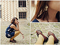 Le collant moutarde, oui oui!  - Feather earrings, H&M, Vintage shoes, Weeken, Helene Trinh, France