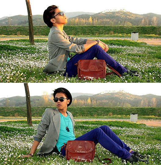 Spring is on it's way and so are we  - Black Glasses, Weeken, Grey blazer, Weeken, V-neck turquoise shirt, H&M, Skinny Violet Jeans, Weeken, Jerome Centeno, Estonia