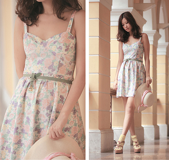 A pastel dream  -  pastel floral dress, Weeken, Pale green belt, H&M, Baby yellow socks, H&M, Bows sandals, Marni, Mayo Wo, Hong Kong