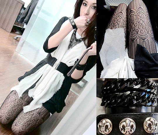 The world is a vampire, sent to drain ✟  - Bracelet , Chrome Hearts, Necklace, Chanel, Lace Stockings, Weeken, Rigel Davis, Vietnam