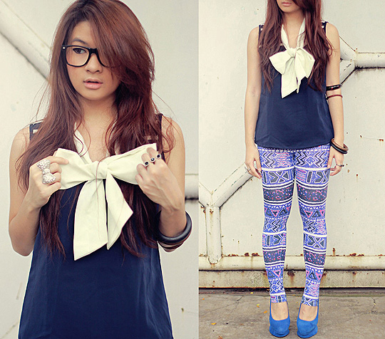 It takes two bows to sail  - Bow ring, H&M, Printed legging, Weeken, Shoes, Weeken, Anastasia Siantar, Indonesia