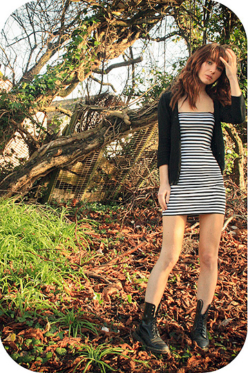 The earthquakes set off car alarms  - Striped bodycon, Topshop, Plain cardigan, Weeken, Doc martens, Weeken, Mimi Sinnott, United Kingdom