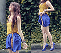 Please don't stop the rain  - Mustard cropped top, Weeken, Blue Skirt, Weeken, Studded pumps, Weeken, Anastasia Siantar, Indonesia