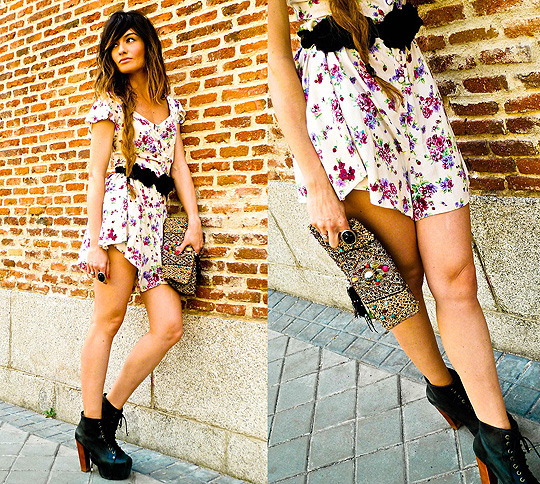 IT'S TIME TO FLOWERS  - SHOES, Weeken, ROMPER, Weeken, BELT, Weeken, PURSE, Weeken, Angela Rozas Saiz, Spain