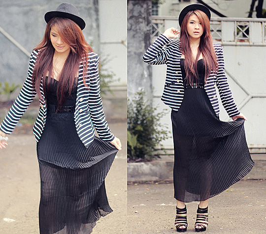 But I don't want nothing at all - Pleated sheer maxi skirt, Weeken, Blazer, Weeken, Studded heels, New Look, Anastasia Siantar, Indonesia