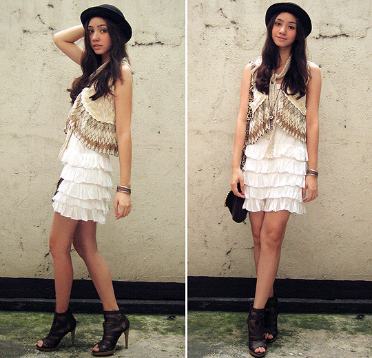 Safari in the City  - Bowler hat, Weeken, Tiered vest, Weeken, Tiered dress, Weeken, Gladiator heels, Weeken, Crocheted scarf, Weeken, Aileen Belmonte, Malaysia
