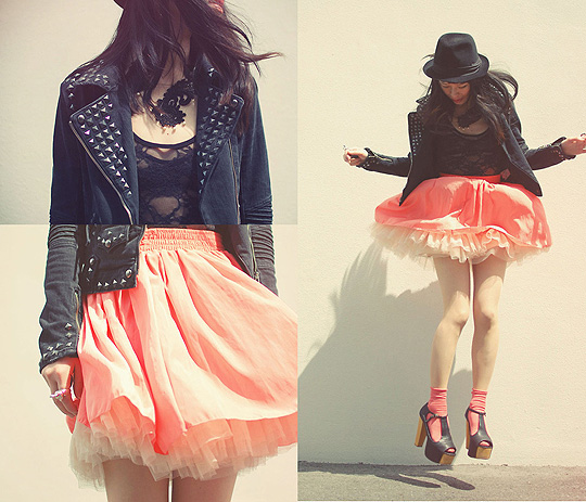 Studs, lace, pink  - Bodysuit, American Apparel, Skirt, American Apparel, Shoes, Weeken, Shan Shan, Japan