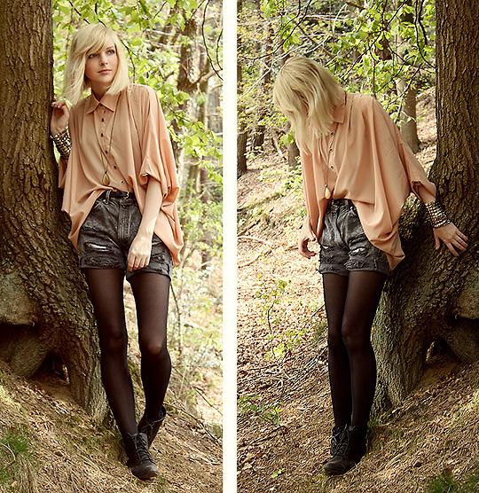 Nothing to do? hey, let's stay in the woods! - Blouse, Weeken, Shorts, Weeken, Bracelet, Topshop,  shoes, Weeken, Jana Spaceman, Germany